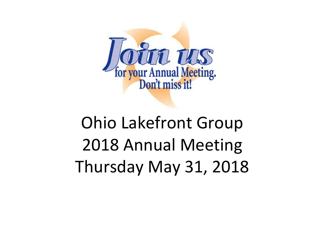 2018 Ohio Lakefront Group Annual Meeting
